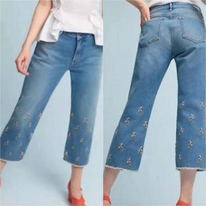 Anthropologie Pilcro embroidered cropped jeans 28
